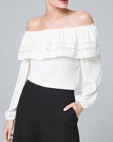 Petite Embroidered-Trim Off-the-Shoulder Blouse