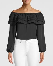 PETITE EMBRIDERED OFF-THE-SHOULDER BLOUSE