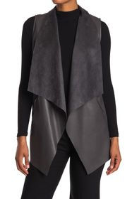 T Tahari Open Front Draped Collar Faux Leather Ves