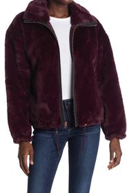 Lucky Brand Funnel Neck Faux Fur Jacket