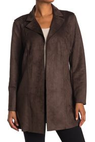 T Tahari Faux Suede Notch Lapel Jacket