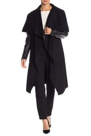 BCBG Fiona Leather Sleeve Wool Blend Coat