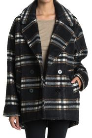 Halogen Plaid Print Double Breasted Pea Coat