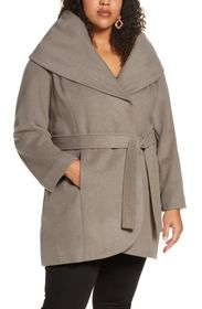 Halogen Wool Blend Hooded Wrap Coat
