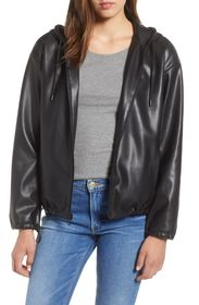 Sam Edelman Faux Leather Zip Hoodie