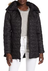 Andrew Marc Rosebank Quilted Faux Fur Trim Hood Co