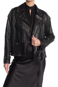 Valentino Studded Fringe Leather Moto Jacket