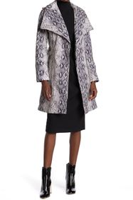 BCBG Wing Collar Snake Skin Print Belted Wrap Coat