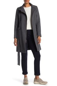 Cole Haan Wool Blend Mock Neck Zip Coat