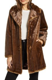 kate spade new york faux fur button front coat