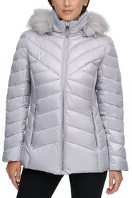 KENNETH COLE Faux Fur Front Zip Puffer Jacket