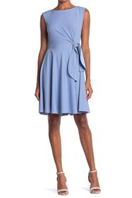 Tahari Crepe Side Tie Dress