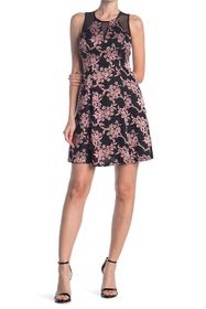 GUESS Floral Print Fit And Flare Dress With Sheer