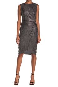 T Tahari Metallic Twist Front Sheath Dress