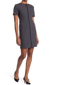 T Tahari Keyhole Short Sleeve Sheath Dress