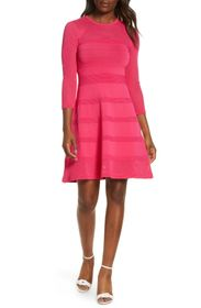 Vince Camuto Mix Stitch Pointelle Fit & Flare Swea