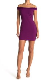 bebe Scuba Crepe Ruffle Neck Mini Dress