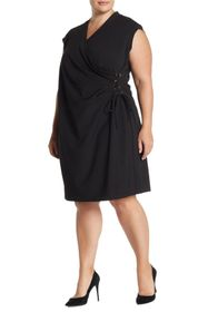 Anne Klein Cap Sleeve Side Lace-Up Dress