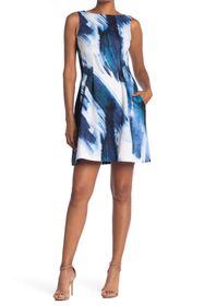 Vince Camuto Sleeveless Fit & Flare Scuba Dress