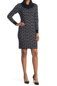 T Tahari Cowl Neck Chevron Print Sweater Dress