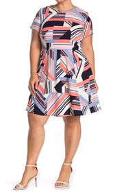 Vince Camuto Short Sleeve Printed Fit and Flare Dr
