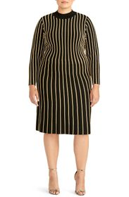 RACHEL ROY COLLECTION Vertical Stripe Fit & Flare