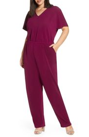 Leota Michaela Short Sleeve Crepe Jumpsuit