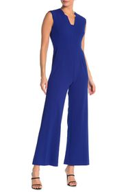 Tahari Scuba Crepe Notch Collar Jumpsuit
