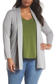Vince Camuto Heathered Open Front Jersey Cardigan