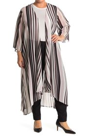philosophy 3/4 Length Stripe Print High-Low Duster