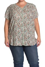 Max Studio Button Front V-Neck Short Sleeve Top