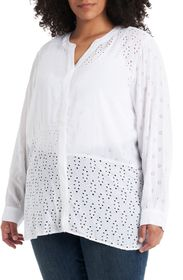 Vince Camuto Embroidered Eyelet Long Sleeve Blouse
