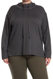 Max Studio Textured Funnel Neck Pullover Hoodie