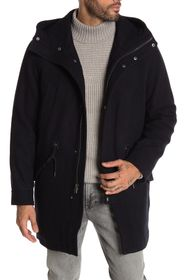 Cole Haan Wool Blend Drawstring Waist Hooded Jacke