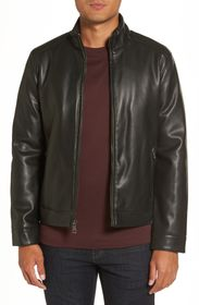 Cole Haan Stand Collar Faux Leather Jacket