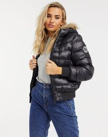 Brave Soul river padded jacket with faux fur trim