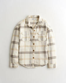Hollister Oversized Flannel Shirt Jacket, WHITE PA
