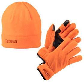 RedHead Fleece Gloves and Beanie Combo for Men