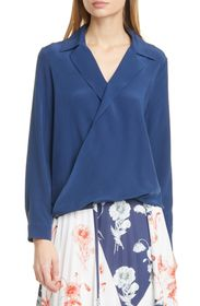 JUDITH AND CHARLES Gehry Wrap Front Silk Blouse