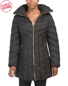 Missy Wing Collar Hooded Puffer Coat