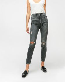 7 For All Mankind High Waist Ankle Skinny in Silve