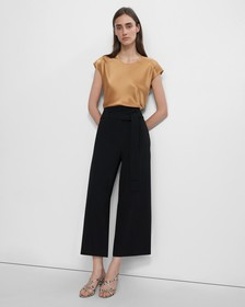 Belted Cropped Pant in Crepe