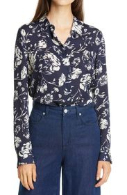 Theory Floral Classic Fit Silk Shirt