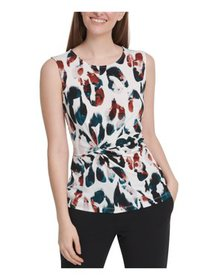 DKNY Womens White Printed Sleeveless Jewel Neck To