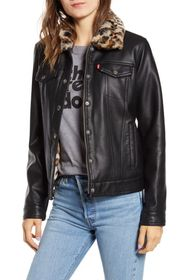 Levi's Faux Leather Faux Fur Collared Trucker Jack