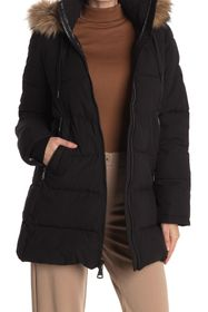 Vince Camuto Short Puffer Jacket With Faux Fur Hoo