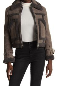 ALLSAINTS Asher Leather Genuine Shearling Lined Ja
