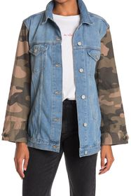 French Connection Tyra Camo Sleeve Denim Trucker J