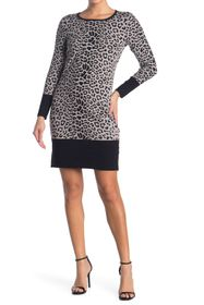 T Tahari Leopard Printed Long Sleeve Shift Sweater