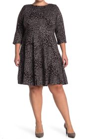 Leota Stretch Knit 3/4 Sleeve Fit & Flare Dress